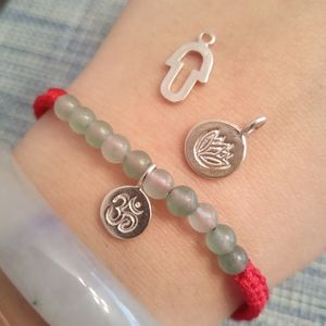 925S Silver Lotus Hamsa or Om Red String Bracelet